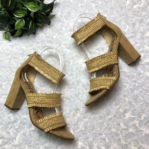 SAM & LIBBY straw fringe tan sandals size 7